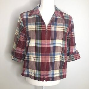 Lemon Grass madras plaid lightweight cotton jacket